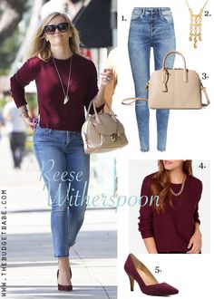 Reese Witherspoon was seen running errands in some simple separates, yet she still manages to look polished and put together! It's the burgundy hue of her sweater and those gorgeous pumps that make this outfit feel fall-ready. And you'll get tons of mileage...