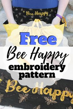 Create a hand embroidered garden apron by Chelsea Briner of Sew Simple Home. Get the free design and pattern at blog.sulky.com #apron #garden #greenthumb #handembroidery #beedesign