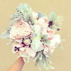 Items similar to Amazingly natural bouquet for your wedding day.Dusty Miller, white lavender, pastel pink peony, ivory rose bouquet with blueberry accents on Etsy
