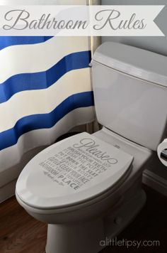 Bathroom Rules on the Toilet Lid