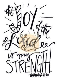 The Joy of the Lord is my Strength / Nehemiah 8:10 / Bible Verse / Hymn Lyrics / 5x7 / by The Handwritten Word