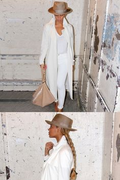 Bey proves that there's nothing fresher than a nearly-head-to-toe white look wearing a plain T-shirt, skinny denim, and a Barneys New York trench coat. Like a boss, she accessorizes the look with a light brown handbag and matching ribbon-trimmed fedora.   - MarieClaire.com