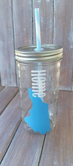 North Caroliona Home - Home - Mason Jar Tumbler - Glass Tumbler - State - 24 oz by TittleBits on Etsy