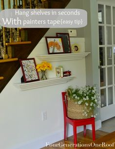 How to hang shelves using painters tape {tutorial}via Jessica @ Four Generations One Roof