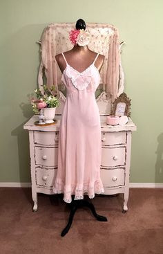 50s Pink Nightie Romantic Nightgown Vintage by SownThreadsClothing Lace  Nightgown cba8a070b