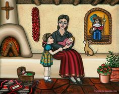 Momma Do You Love Me? Painting by Victoria De Almeida - Momma Do You Love Me? Fine Art Prints and Posters for Sale Victoria, Native American Paintings, Fine Art Prints, Canvas Prints, Mexico Art, Hispanic Heritage, New Mexican, Southwest Art, Chihuahua Puppies