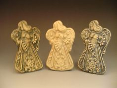 Set of Three Christmas Angel Ornaments by SwallowsNestPottery, $20.00