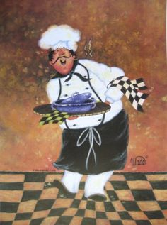 Hug the Chef Print - Vickie Wade, fat chef, paintings, prints, black, chef art, rust, checks, kitchen art, cooking