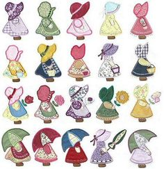 My Sunbonnet Sue designs. I still have my grand mothers Sunbonnet Best Photos of Embroidery And Applique Sunbonnet Sue Pattern - Sunbonnet Sue Quilt Pattern, Sunbonnet Sue Applique Embroidery Designs and Free Sunbonnet Sue Embroidery DesignsSunbo Quilt Patterns Free, Applique Patterns, Applique Quilts, Applique Designs, Embroidery Applique, Quilting Designs, Machine Embroidery Designs, Embroidery Stitches, Kurti Embroidery