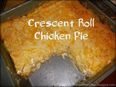1 crescent rolls 1 cup cooked chicken 1 8oz cream cheese 1 can cream of chicken soup 1 1/2 cup cheddar cheese for mix 1/2c for top Open crescent rolls Press 4 in bottom of ungreased 8X8 pan Press seams together Mix soup cream cheese cheese& chicken Pour mix over rolls Press together seams of remaining crescent rolls& lay on  top Bake 350 30-35 min