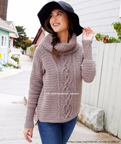 Yarnspirations is the spot to find countless free intermediate crochet patterns, including the Red Heart Entwined Chic Cable Sweater. Crochet Jumper, Crochet Cardigan Pattern, Knit Crochet, Crochet Patterns, Crochet Sweaters, Free Crochet, Cable Sweater, Crochet Woman, Girl With Hat