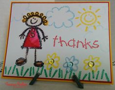 A Teacher Thank you card made using Crayon Kids stamp set from Stampin' Up! DoubleClick Skittles used as embellishments!!