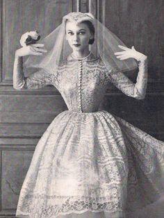Vintage Bride 1950's Wedding Dress Prices, Sheer Wedding Dress, Wedding Dresses Plus Size, Modest Wedding Dresses, Wedding Gowns, Retro, Vintage Bridal, Vintage Weddings, Marie