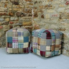 Tweed Wool Patchwork Cube Footstool from Curiosity Interiors