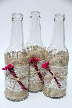 Rustic Burlap Centerpiece Bottle Vases, Wedding or Party Decor, SET of 5 - New ideas Burlap Centerpieces, Country Wedding Centerpieces, Wedding Jars, Wine Glass Crafts, Wine Bottle Crafts, Mason Jar Crafts, Wine Bottle Art, Diy Bottle, Bottle Lamps