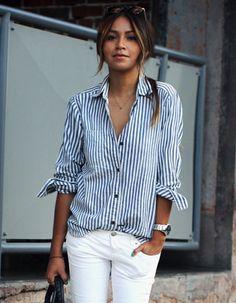 hot style lady stripe shirt + jean shorts + maybe a sun hat?