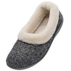 587961de5145 Wishcotton Women s Knitted Cotton Memory Foam Slippers Fuzzy Collar Fleece  Lined Outdoor Indoor House Shoes (