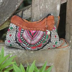 Mandarin Style Embroidered Handbag with Leather Trim - Mandarin Geometry | NOVICA
