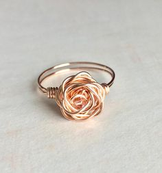 Copper or Silver plated Wire Wrapped Rose Ring made to order Diy Wire Jewelry Rings, Wire Jewelry Designs, Handmade Wire Jewelry, Handmade Rings, Copper Jewelry, Cute Jewelry, Wire Wrapped Jewelry, Jewelry Shop, Beaded Jewelry