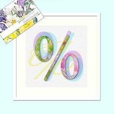 Percent Sign Design, Pastel Colours, Modern Decor, Printable Art, Instant Download, Letter,Typography, Watercolour Print, Wall Art Poster % Thing 1, Pastel Colours, Typography, Lettering, Sign Design, Watercolor Print, All Print, Printing Services