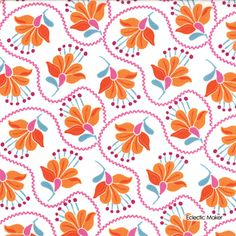 Kate Spain Cuzco Embroidery in Tangerine Moda fabric for patchwork quilting and dressmaking from Eclectic Maker [27132 12] : Patchwork, quilting and dressmaking fabric, patterns, habberdashery and notions from Eclectic Maker