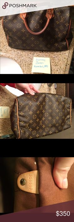 Louis Vuitton Speedy 30 Very well loved. I have additional photos I can email. Some chew marks from my sweet dog. Peeling but no stickiness on inside pocket. I will include receipt from when I had the piping redone at STL store. Louis Vuitton Bags Satchels