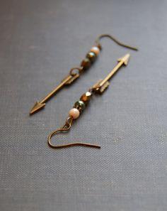 Little Arrow Earrings Arrowhead Earrings by HarmonyGardenDesigns, $17.00