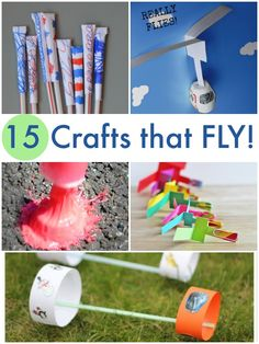 15 crafts that FLY! Fun to make AND play with! pinchar linkd y ver proyectos niños peq Projects For Kids, Diy For Kids, Craft Projects, Craft Ideas, Stem Activities, Toddler Activities, Summer Activities, Summer Crafts, Summer Fun