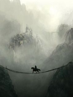 Castle in mist https://www.steampunkartifacts.com #FantasyLandscape