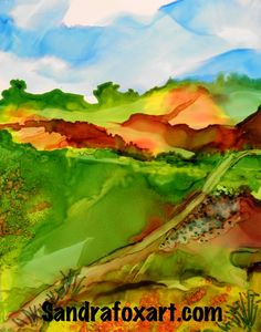alcohol ink painted landscape