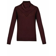 ALEXANDER WANG Roll-neck wool and silk-blend sweater ($297) ❤ liked on Polyvore featuring tops, sweaters, burgundy, knitwear, long length sweaters, roll neck sweater, alexander wang, burgundy sweater and burgundy top