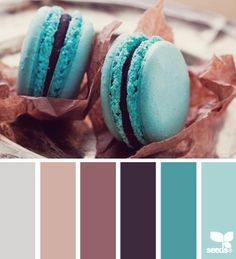 Macaroon Hues: Pale Grey, Iced Plum, Mauve Purple, Dark Violet, Teal and Light Blue. Love this color palette for the kitchen Design Seeds, Colour Schemes, Color Combos, Colour Palettes, Palette Design, Bedroom Paint Colors, Teal Paint, Paint Colours, Color Palate