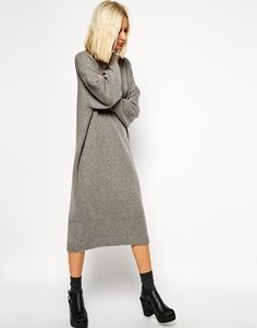 ASOS White ASOS WHITE Oversized Gray Knit Midi Dress - Gray