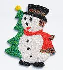 Melted Popcorn Plastic Blow Mold Snowman Christmas Tree Scarf Decoration 18x13