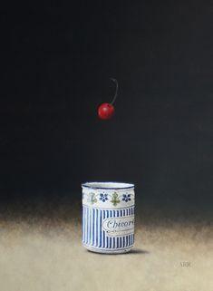 "Alison Rankin, ""Enamel Jar With Falling Cherry,"" acrylic on paper, 25 x 29 in."
