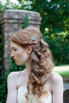 Silver #Rhinestone #Bridal Comb with #Swarovski Crystals
