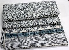 Indian Cotton Kantha Bed Cover Bedspread Hand Block Anokhi Print Quilt Throw 01 #KhushiHandicraft #ArtDecoStyle