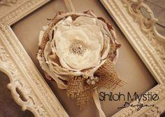 Ivory and Burlap Headband-Hairclip-Vintage Wedding-Country Wedding-Burlap Wedding Headband-Burlap wedding
