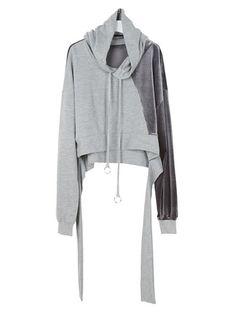 Women Casual Loose Stitching Long Sleeve Hooded Hoodie