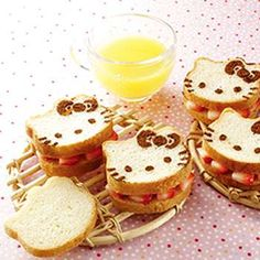 Hello kitty food- sandwiches are perfect