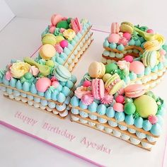 Pretty and different take on a Birthday 'cake'. Number Birthday Cakes, Number Cakes, Cake Birthday, Luau Cookies, Cupcake Cookies, Cookie Cakes, Pretty Cakes, Cute Cakes, Bolo Glamour