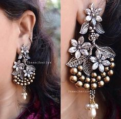 to place your order what's app at 9015877792 or dm us ! Last few pairs left of these stunners, hurry go grab yours before they go out of stock Indian Jewelry Earrings, Indian Jewelry Sets, Silver Jewellery Indian, Jewelry Design Earrings, Ear Jewelry, Silver Jewelry, Silver Ring, Silver Earrings, Beaded Jewelry