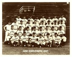 1947 New York Giants Team ~ The 1947 Giants didn't win the pennant, but they were renowned for something else: home runs. Led by Johnny Mize's league-leading 51 HR's, the '47 squad managed to crack 221 HR's, shattering the old MLB mark of 182 set by the 1936 Yankees.