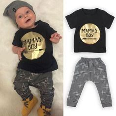 2Pcs Newborn Toddler Baby boys girls Infant Clothes Golden Letter Mamas Boys Printed Jumpsuit Outfit Sets 0-24M UK #>=#>=#>=#>=#> Click on the pin to check out discount price, color, size, shipping, etc. Save and like it!