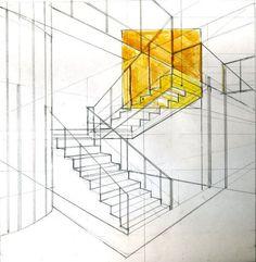 İç mekan merdiven çizimi