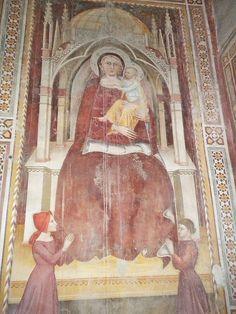 Francesco di Michele (Maestro di San Martino a Mensola?) e  bottega - Madonna con Bambino e donatori - affresco - 1375-80 primi quattrocento - Prato (Toscana) - Oratorio di San Bartolomeo