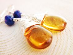 Amber Earrings Amber Czech Glass wire by thelittlehappygoose, $25.00
