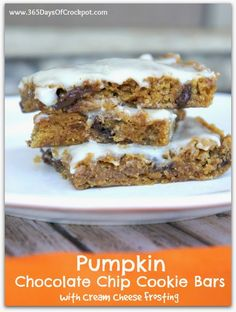 From scratch pumpkin chocolate chip (sub nuts/raisins) cookies bars with cream cheese frosting.