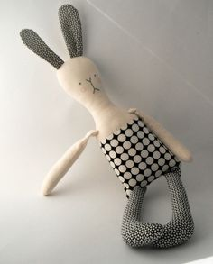 rag doll toy modern rabbit fabric bunny plushie boy by rosieok, $60.00