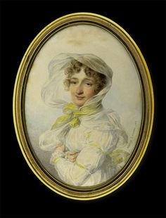 Jean-Baptiste Isabey    Lady in White Dress with Yellow Ribbons    1812